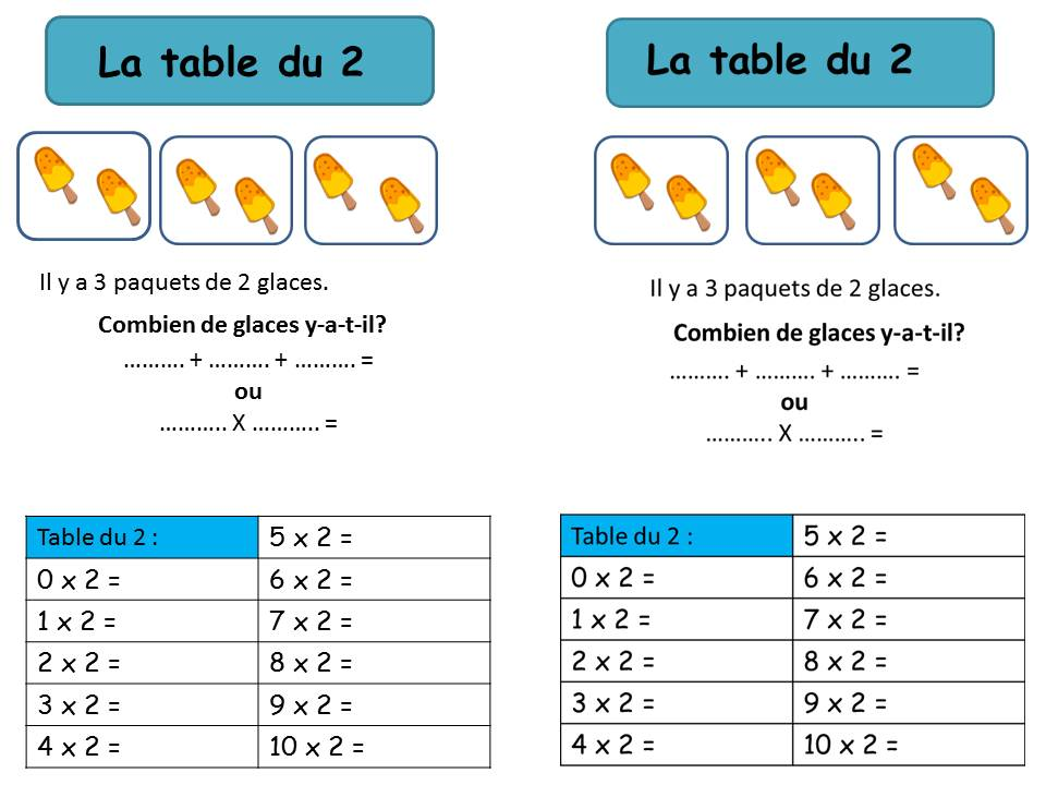Operations calcul page 2 la classe de corinne for Table de multiplication de 2 a 5