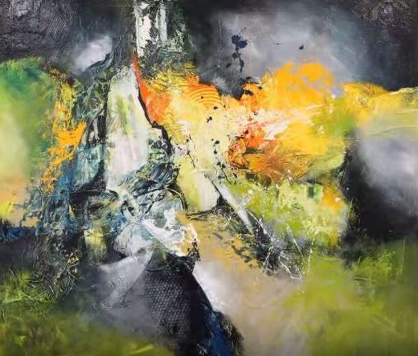 Dessin et peinture - vidéo 1731 : Réalisation et démonstration à l'acrylique, d'une peinture abstraite intuitive.