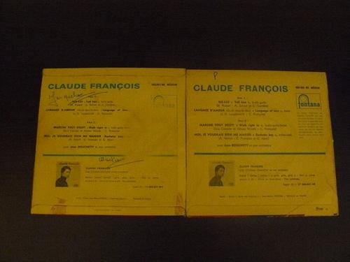 Claude François 45 tours marche tout droit 1963 2 pochette différentes photo fait par moi