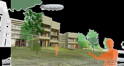 Logements sociaux en bois, avec une serre commune