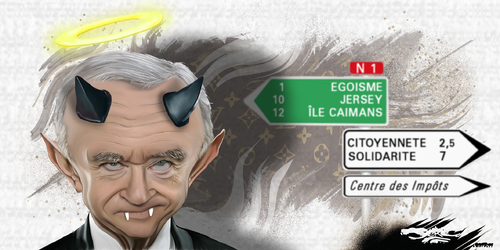 dessin de JERC du mardi 14 novembre 2017 caricature Bernard Arnault Déchéance de nationalité Française !!  www.facebook.com/jercdessin