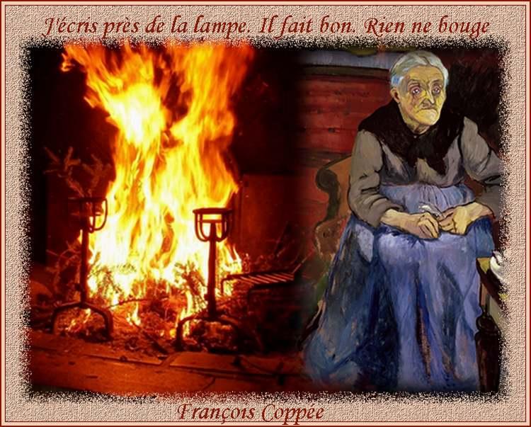 """"""" J'écris près de la lampe. Il fait bon. Rien ne bouge """" poème de François Coppée"""