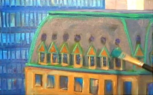 Dessin et peinture : vidéo 2558 : La grande aventure de la mégapole - peinture à l'huile sur grande toile 1.