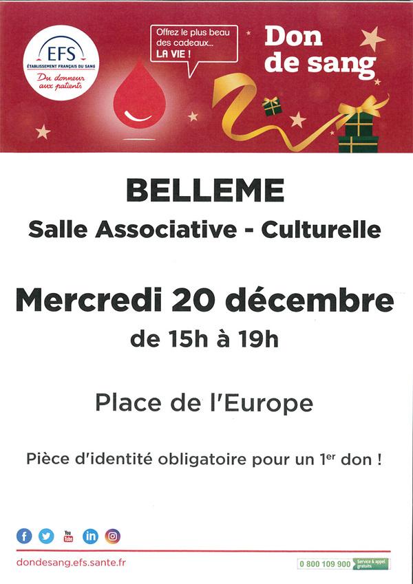 Don du sang mercredi 20 décembre à Bellême