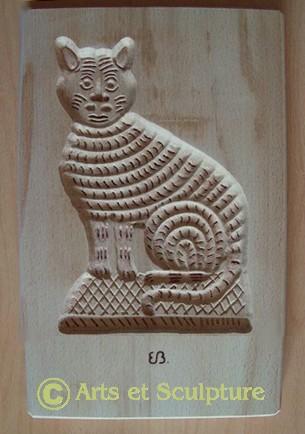 Moule à biscuits artisanal chat en bois de hêtre - Arts et Sculpture: sculpteur sur bois, créations personnalisées