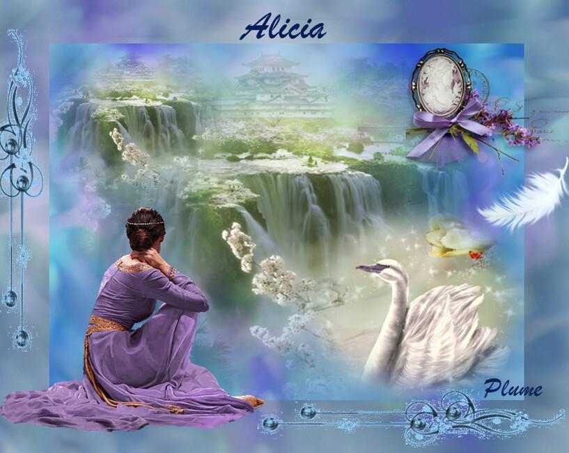 Alicia au pied des chutes