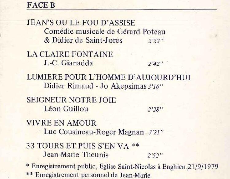 La discographie de Jean-Marie Theunis