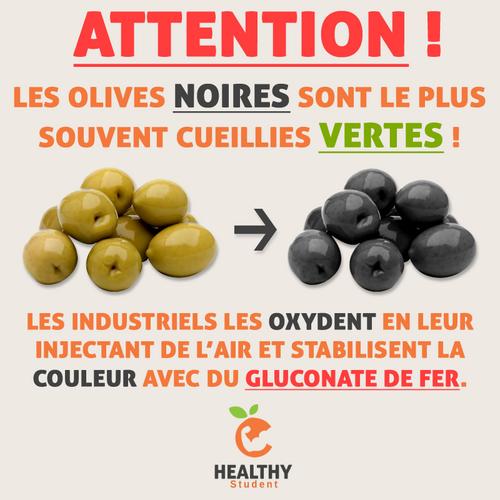 Olives noires au gluconate de fer