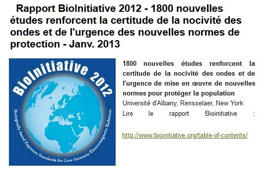 Rapport BioInitiative : Arguments pour des seuils de protections du public fondés sur les effets biologiques des rayonnements électromagnétiques