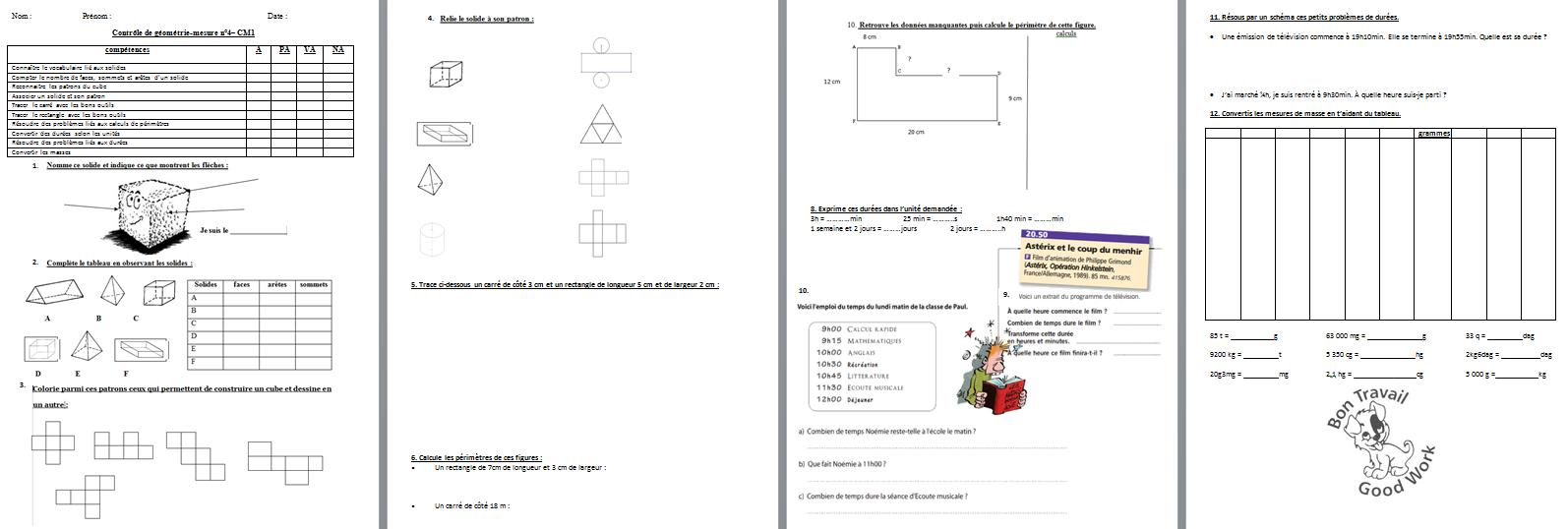 français : évaluation - contrôle de géométrie/mesure - période 4 - CM1