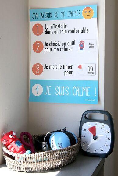 Une affiche à découper et à personnaliser, pour inciter les enfants et adolescents à se calmer lorsqu'ils sont énervés ou en colère ! Utilisée en complément des Time Timer et de produits tels que les fidgets, elle permet de se relaxer et rester zens !: