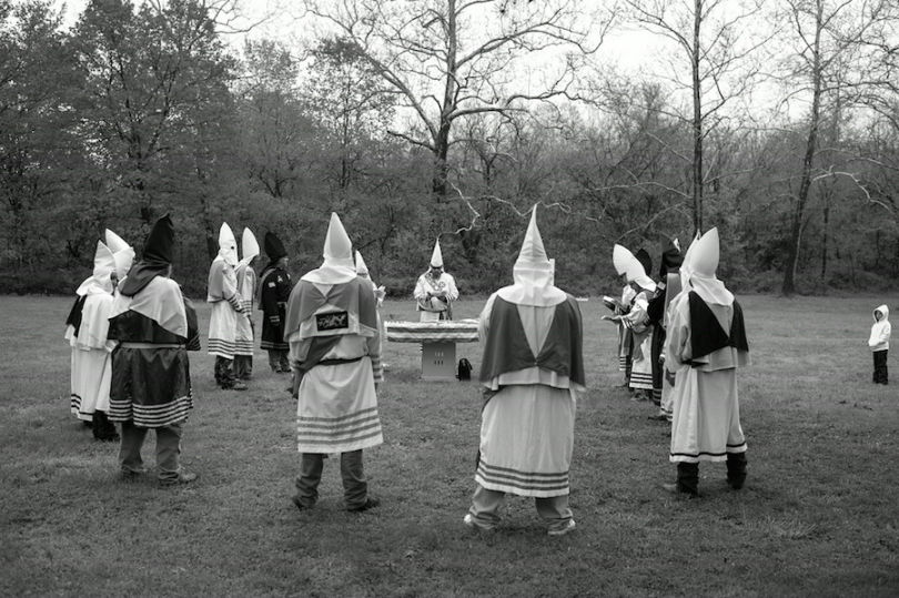 Members of a mid-Western based Klan realm conduct a K-Duo ceremony (the 2nd out of four Kloranic Orders/divisions - the Primary Order of Knighthood) at the Fort Davison state historic site and the Missouri Civil War battle of Pilot Knob (Photograph: Anthony Karen)