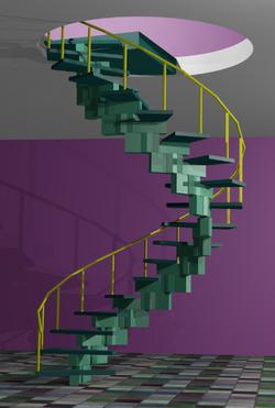 Rendu de l'escalier avec une rampe