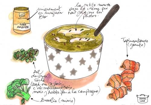 Velouté de brocolis, topinambours, purée d'amandes et ail des ours