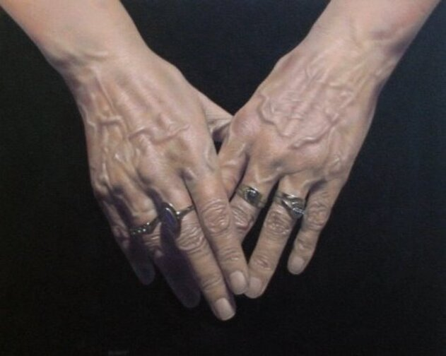 Hands, acrylic on canvas, Jason de Graaf