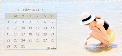 calendriers mois de juillet