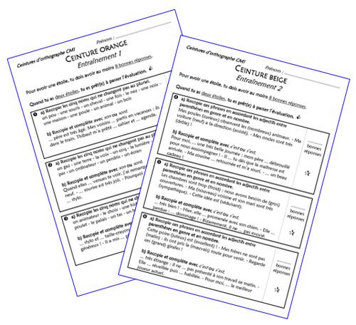 Ceintures d'orthographe CM1