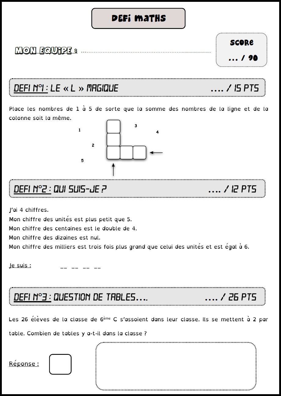image défi maths 7