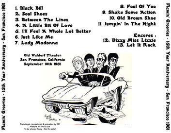 Le choix des lecteurs # 67 : Flamin' Groovies - Old Waldorf Theater San Francisco 10 Septembre 1981