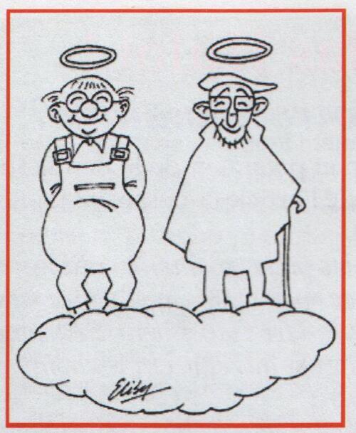 Caricatures de l'Abbé Pierre au paradis