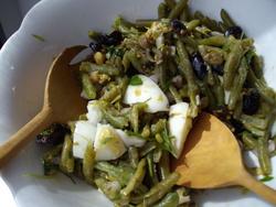 Câpres, coriandre et haricots verts