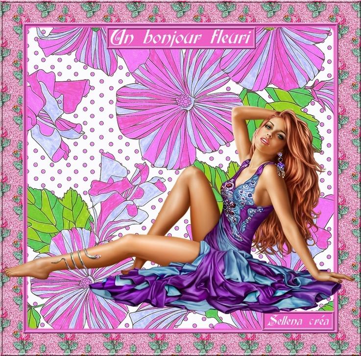 **Un bonjour fleuri**Coloriage