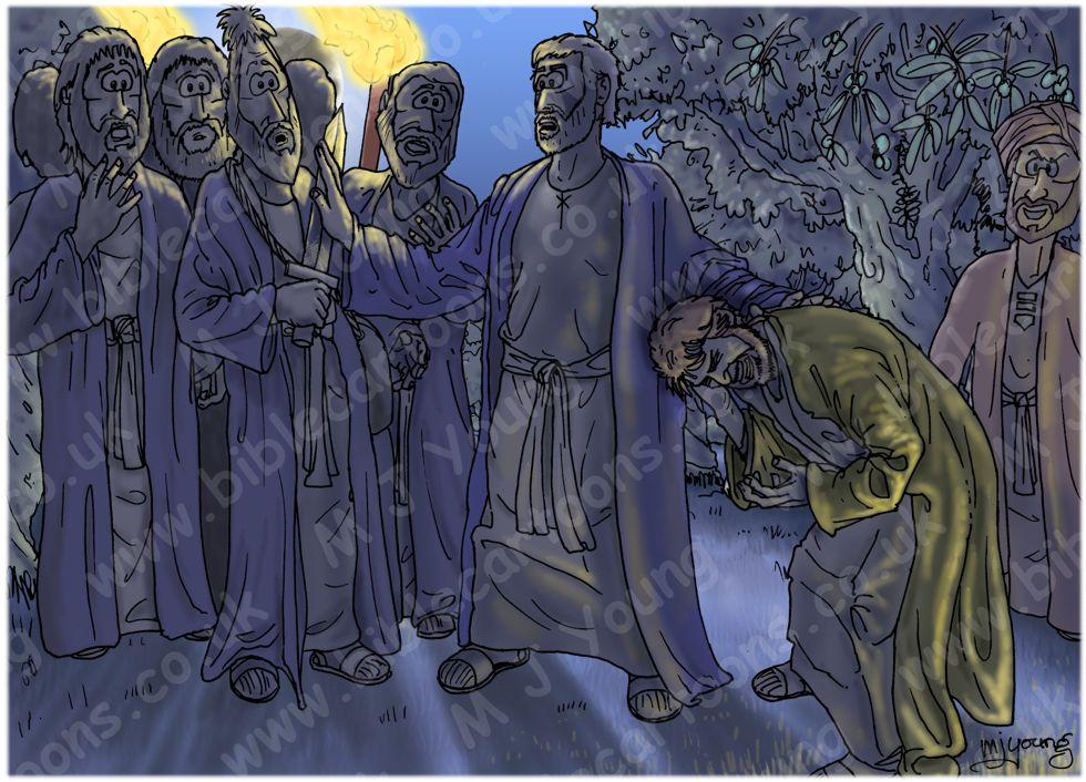 John 18 - Jesus betrayed and arrested - Scene 04 - Malchus struck 980x706px col