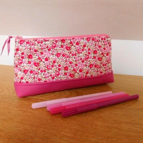 Trousse à crayons Liberty rose