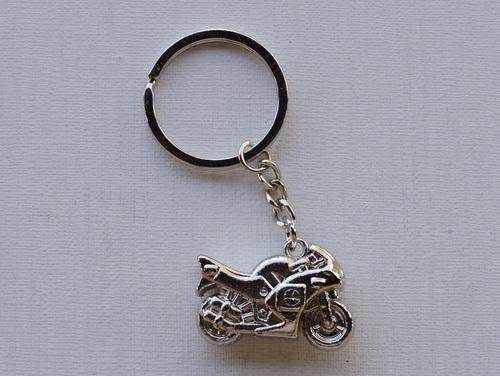 Porte-clés Moto métal argenté