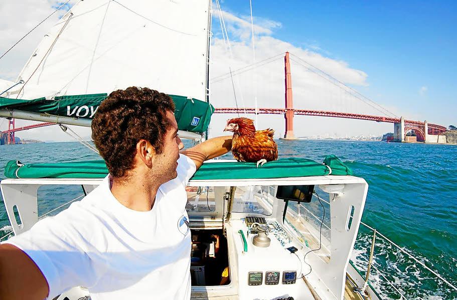 Le jeune navigateur originaire de Plougrescant (22), ici, avec sa poule Monique dans la baie de San Francisco, aux États-Unis. Lieu de son grand départ, début novembre.