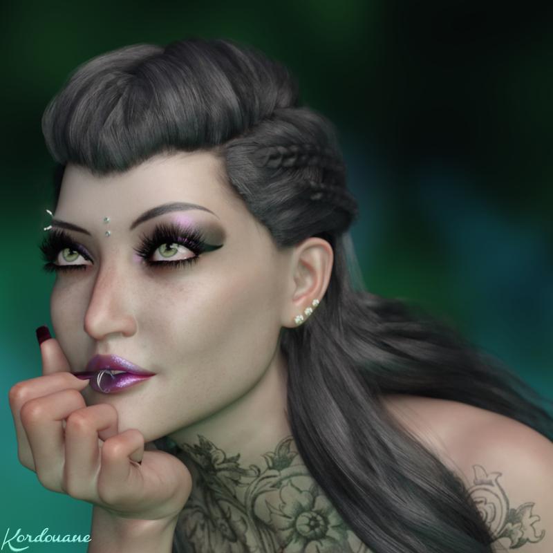 Création : Portrait femme gothique raffinée