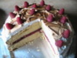Meringue-Frosted Cake with Raspberry Filling