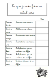 ceinture, calcul, ce2, addition, soustraction, multiplication, division
