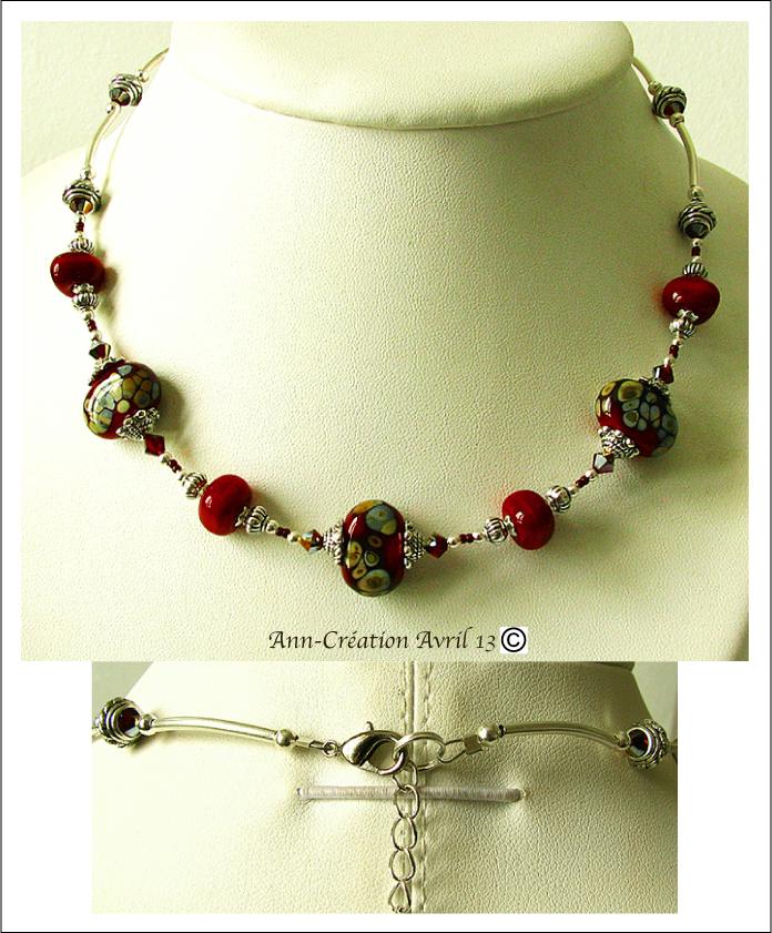 Collier Perles de Verre filé Rouges, Cristal de Swarovski / Plaqué Argent