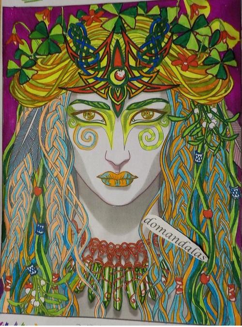 Magical beauties, dessin Cristina Mcallister, réalisation avec feutres, domandalas.