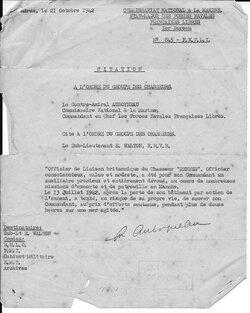 * FNFL - Hommage au courage du Lieutenant Edward Walton, unique rescapé du Chasseur 8 Rennes