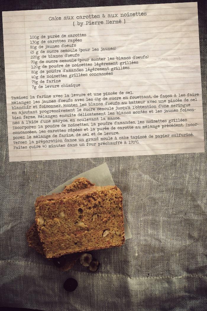 Cake aux carottes et aux noisettes de Pierre Hermé {ultra-moelleux, et sans beurre}