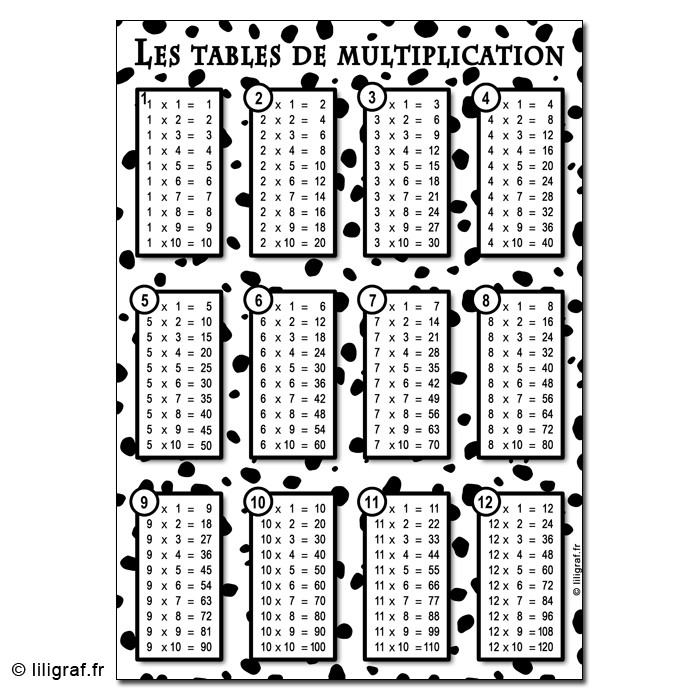 C1 les tables de multiplication - Table de multiplication 11 et 12 ...