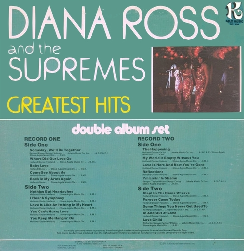 "Diana Ross & The Supremes "" Greatest Hits "" Kelo Music Records NU 9430  US ] en 1978"