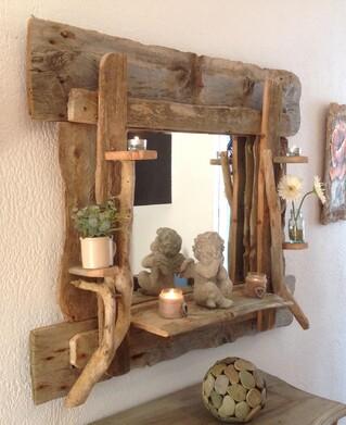 Miroir en bois flotté 110 cm