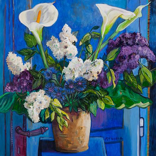 Arum, lilas et centaurées