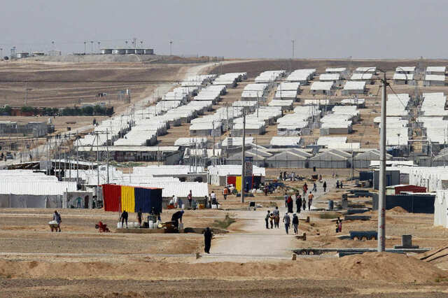 Réfugiés, camps en Jordanie A general view shows the Azraq camp for Syrian refugees in northern Jordan on May 17, 2017.  Ahmad ABDO / AFP