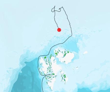 Kart som viser driften til N-ICE2015 frem til 15. februar 2015.