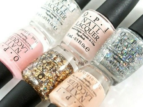 opi, pink, fashion, white, pretty, glitter, gold, nail polish