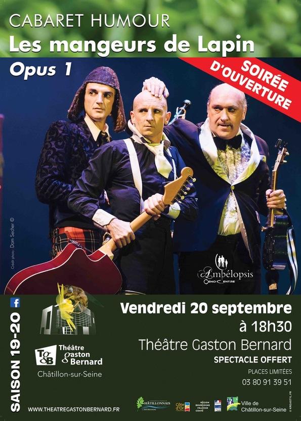 Vendredi soir 20 septembre, c'est la présentation du programme du TGB, avec un spectacle drolatique à ne pas manquer !!