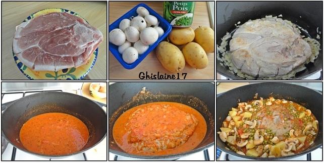 Rouelle de porc en cocotte avec petits légumes et coulis de tomate