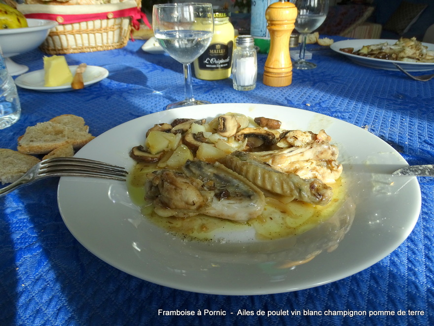 Ailes de poulet Champignons Vin blanc