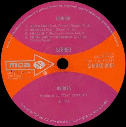 """1971 : Album """" Osibisa """" MCA Records MAPS 4740 [ UK ]"""
