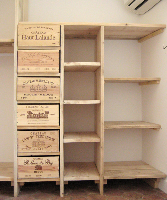 3 etag res dressing en bois de pin bois paille et - Caisse en bois pour rangement ...