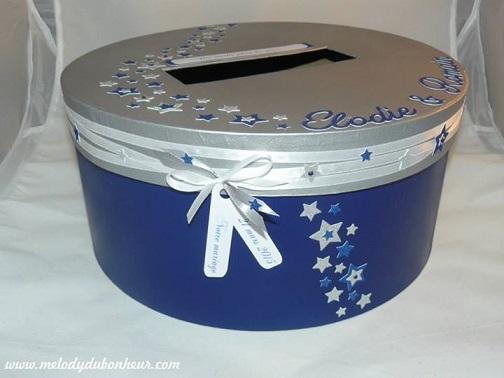 Urne mariage étoiles argent et bleu paillettes